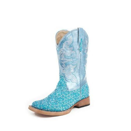 - Roper Western Boots Girls Square Glitter Green 09-018-1901-0027 GR