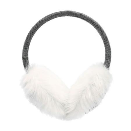 Seasonal Earmuffs w/ Flexible Headband & Snowflakes Print, Grey - Snowflake Headbands