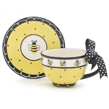Whimsical Honey Bumble Bee Teacup and Saucer Set Adorable Set for -