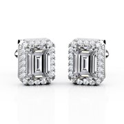Certified - 1.10 Carat Emerald Cut Moissanite - Halo - Dual Prong Stud Earrings - 18K White Gold Plating over Silver