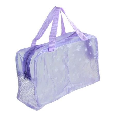Flower Print Zipper - Uxcell Foldable Purple Flower Print Clear Zipper Meshy Bathroom Shower Wash Bag