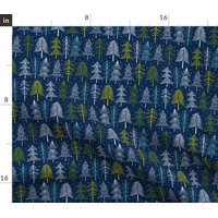 Woodland Tree Navy Christmas Holiday Winter Fabric Printed by Spoonflower BTY