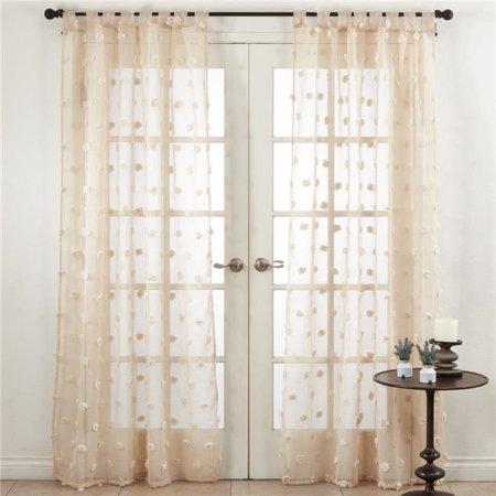 Saro Lifestyle C209.N5496 54 x 96 in. Pom Pom Window Curtains - Natural - image 1 de 1