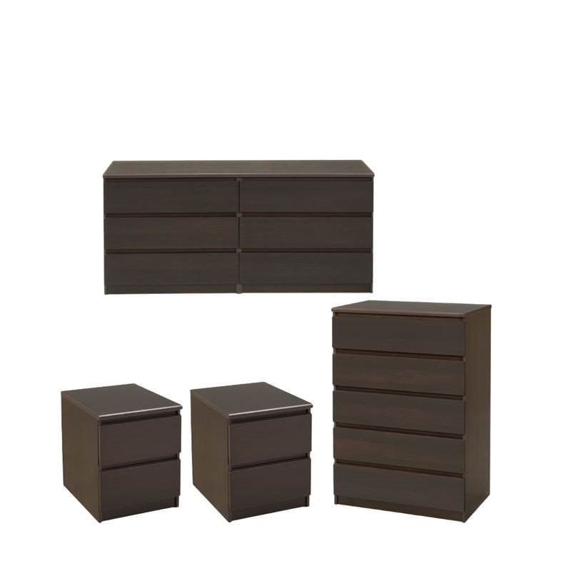 4 PC Bedroom Set with Double Dresser, Chest and 2 Nightstands in