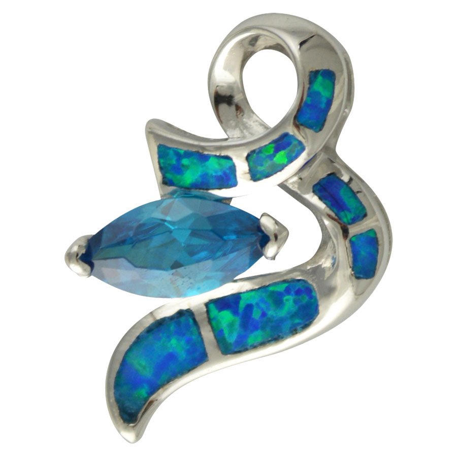 Sterling Silver Blue Created Opal & Light Blue CZ Pendant 925 Silver Jewelry