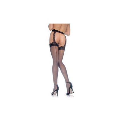 Women's Sheer Back Seam Garter Belt Stocking, Black, One Size