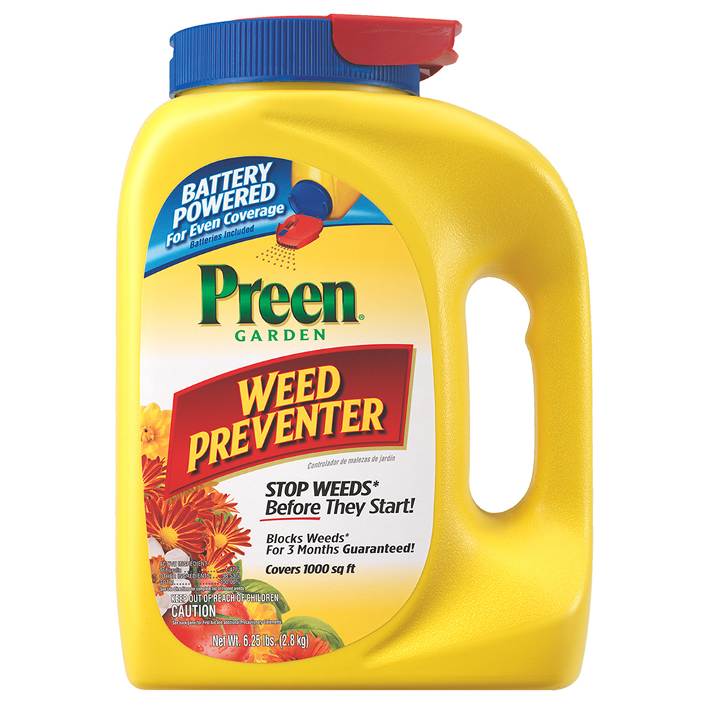 Preen Garden Weed Preventer with Battery Powered Spreader Cap, 6.25 lb covers 1,000 sq ft