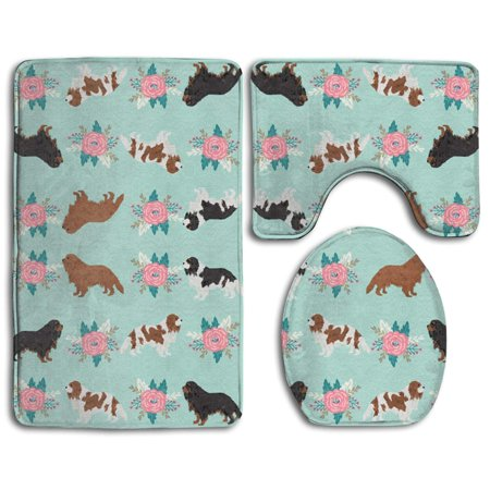 Charles Toilet (GOHAO Cavalier King Charles Spaniel Dogs Cute Dog 3 Piece Bathroom Rugs Set Bath Rug Contour Mat and Toilet Lid Cover)