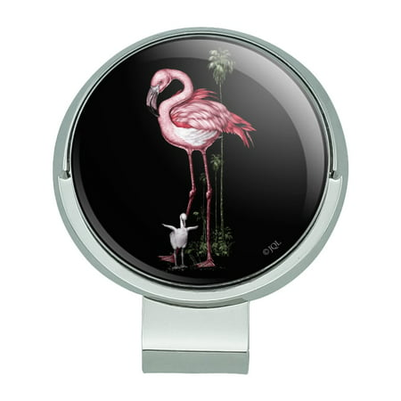 Pink Flamingos Palm Tree Golf Hat Clip With Magnetic Ball Marker