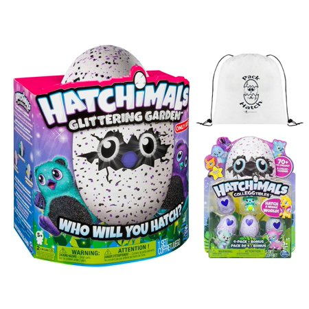 Hatchimals Glittering Garden Bearakeet   Colleggtibles Eggs 4 Pack  Season 1    Pack A Hatch Cinch Backpack Combo Exclusive