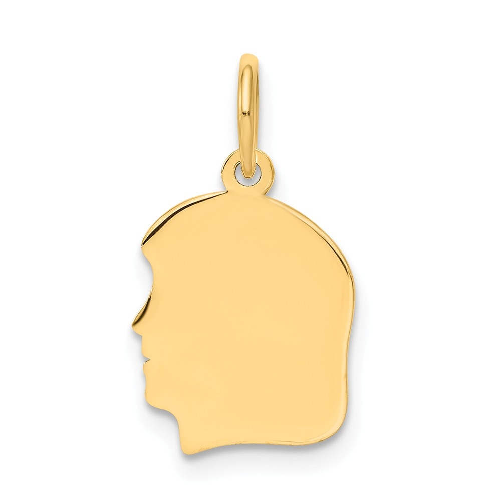 14k Yellow Gold Small 0.011 Ga. Facing Left Engravable Girl Head Charm Pendant
