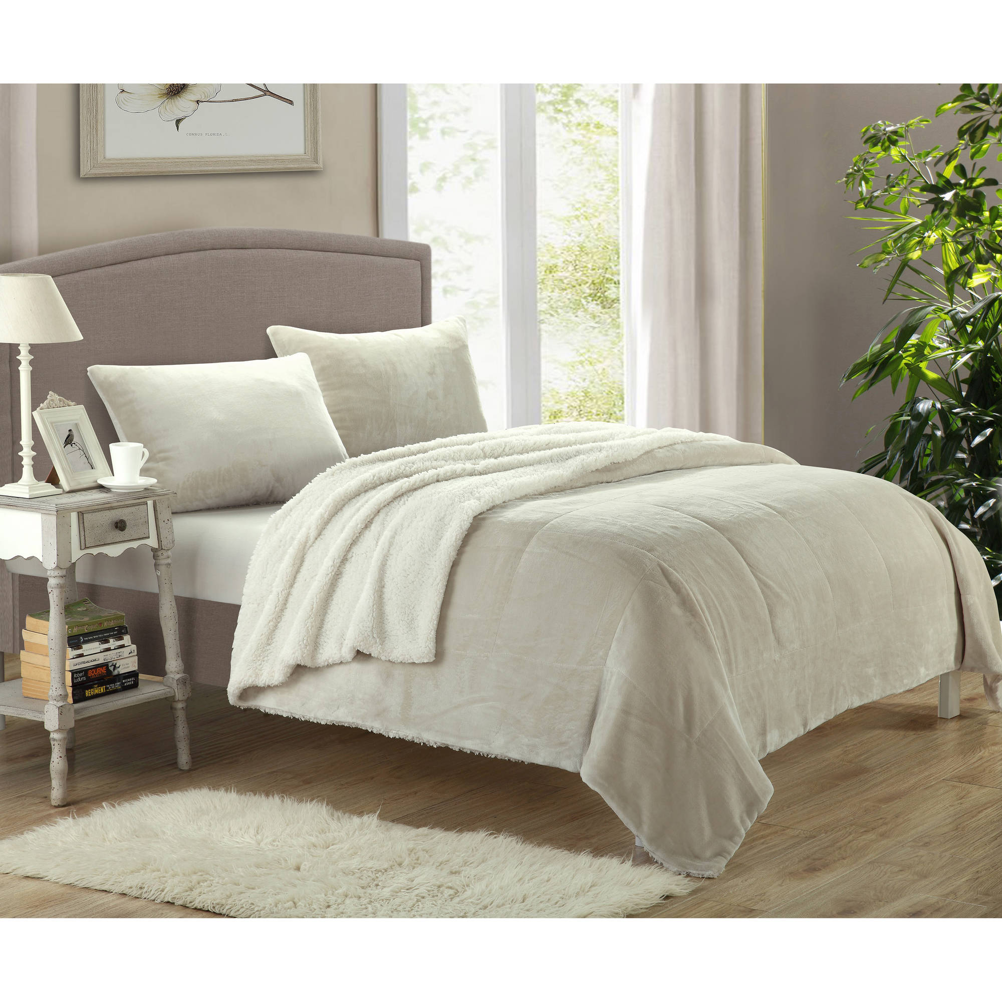 piece bedding micro suede windsor sherpa today fleece set product bath aecd free overstock comforter shipping home