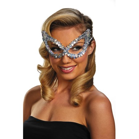Adult Silver Masquerade Ball Costume Accessory Elegant Large Sequin Mask - Masquerade Ball Accessories