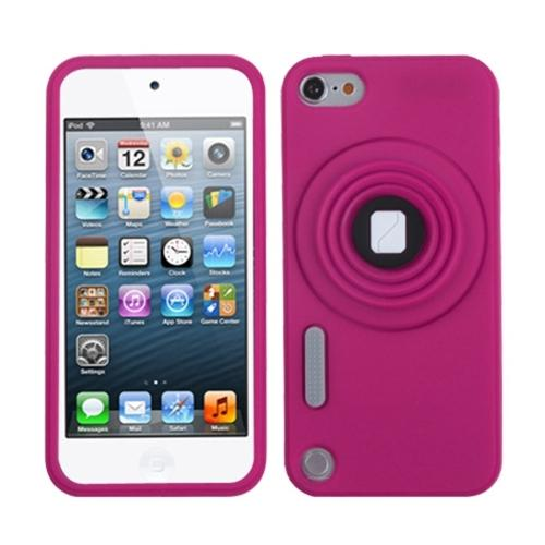 Insten Hot Pink Camera Style Stand Pastel Skin Case (with Lanyard) for APPLE: iPod touch (5th Gen)