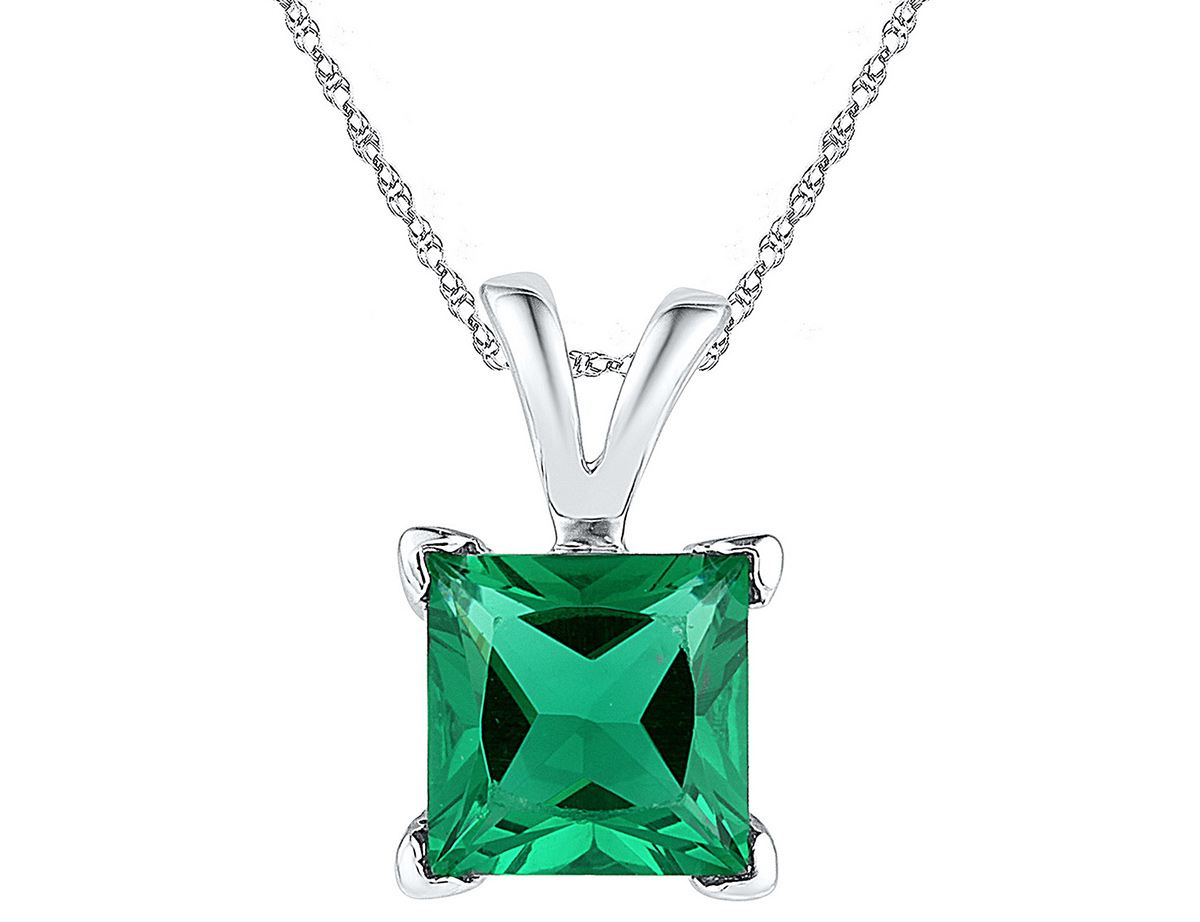 in Sterling Silver with Chain Lab Created Solitaire Green Emerald Pendant Necklace 1.30 Carat ctw