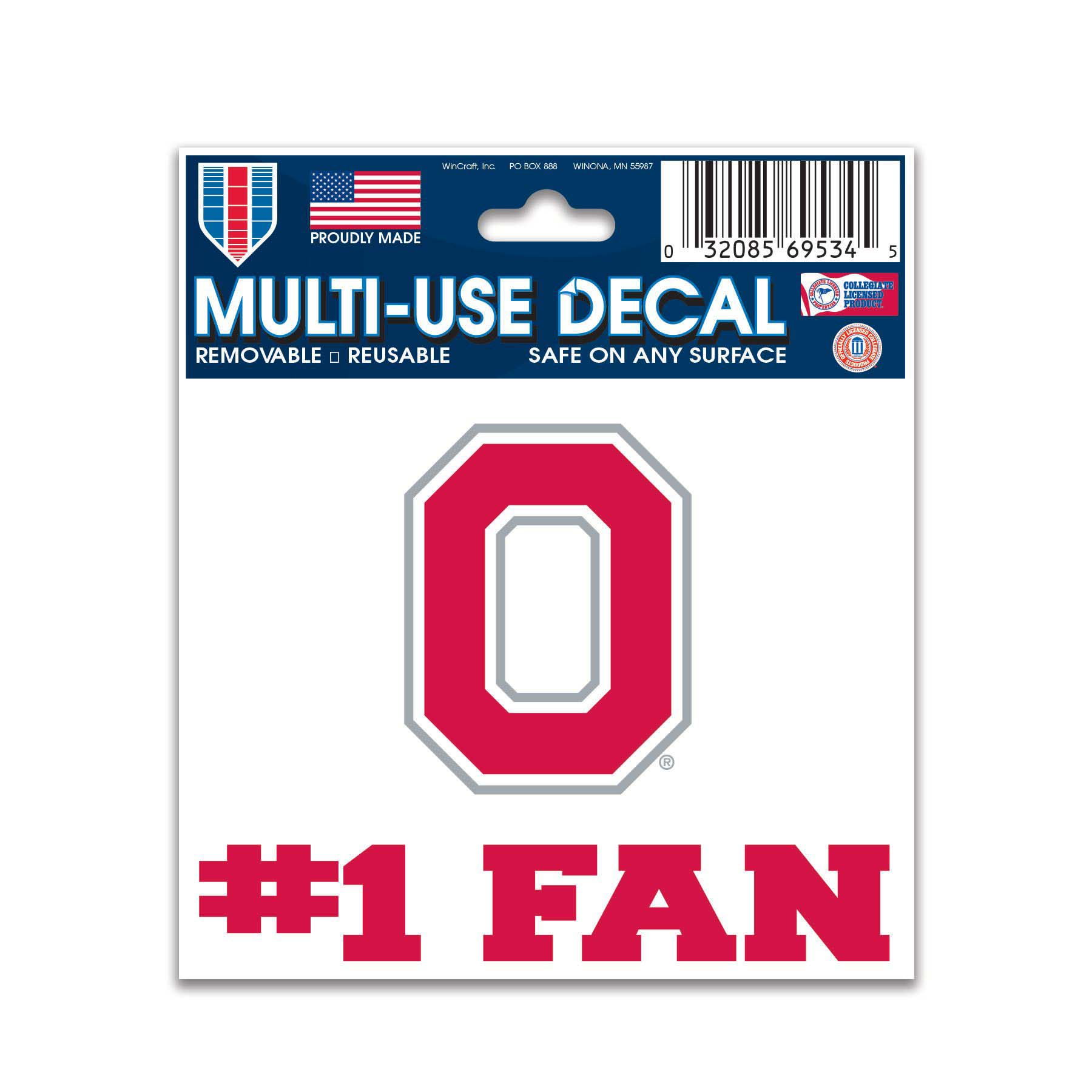 Ohio State Buckeyes Official NCAA 3 inch  x 4 inch  Car Window Cling Decal by Wincraft