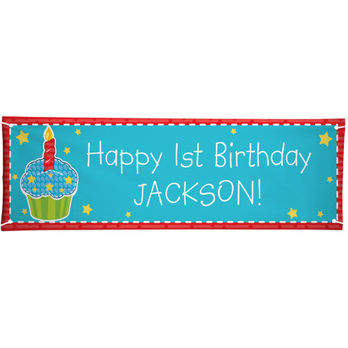 Personalized Oversized Birthday Banner, Primary Cupcake