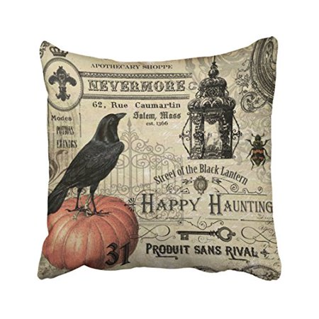 WinHome Decorative Pillowcases Modern Vintage Halloween Pumpkin And Crow Throw Pillow Covers Cases Cushion Cover Case Sofa 18x18 Inches Two Side - Modern Halloween Decor
