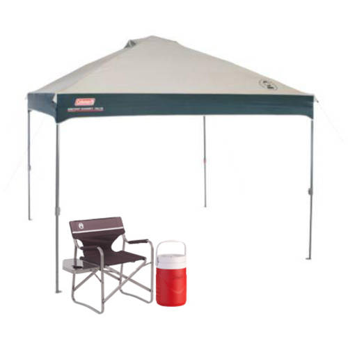 Coleman 10' x 10' Instant Canopy/Gazebo with Deck Chair and 1 Gallon Jug Value Bundle