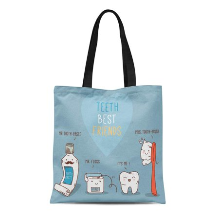 KDAGR Canvas Tote Bag Teeth Best Friends Toothpast Toothbrush and Floss Dental Reusable Shoulder Grocery Shopping Bags Handbag