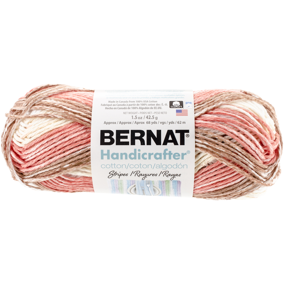 Handicrafter Cotton Yarn, Stripes, Natural