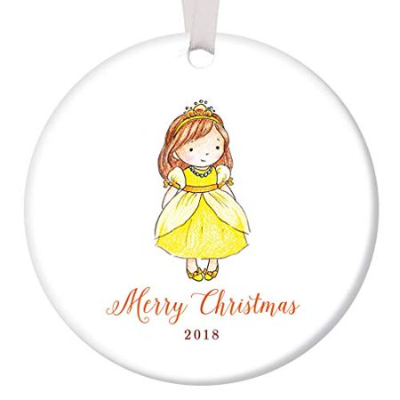 Little Girl 2018 Merry Christmas Ornament Present for Daughter Niece Stepchild Pretty Young Female Child Fairy Princess 3