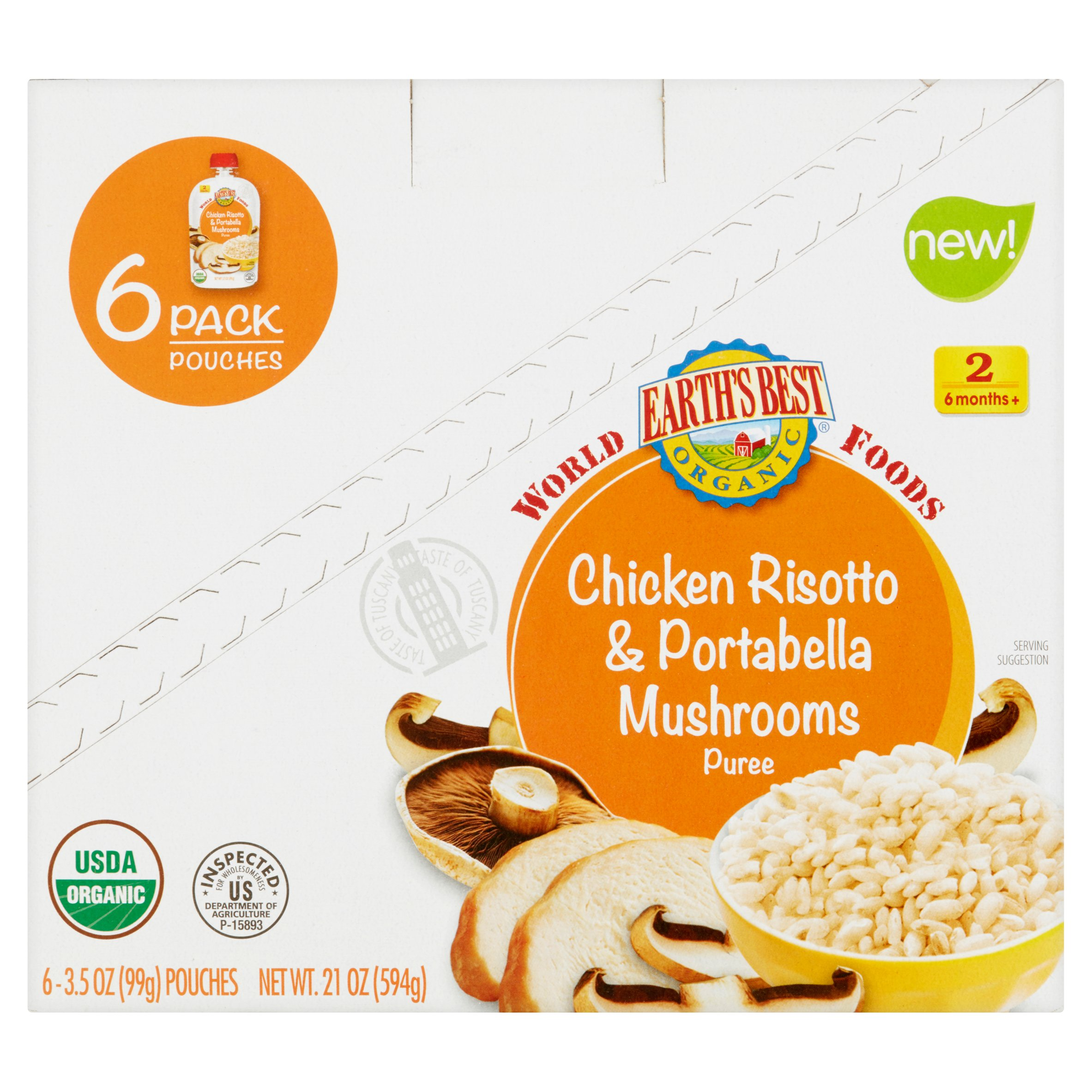 Earth's Best Organic Baby Food Chicken Risotto & Portabella Mushrooms Puree 2 6 Months+, 3.5 oz, 6 pack