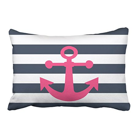 WinHome Rectangl Throw Pillow Covers Nautical Navy Blue Stripes Pink Magenta Anchor Pillowcases Polyester 20 x 30 Inch With Hidden Zipper Home Sofa Cushion Decorative Pillowcase