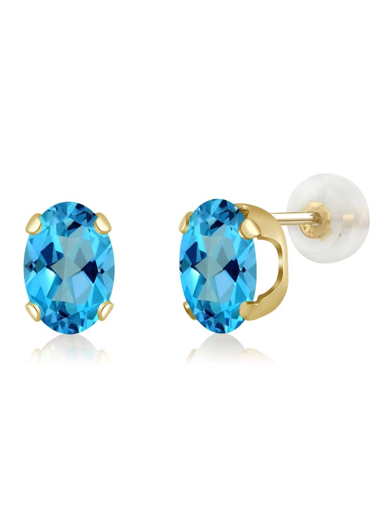 2.00 Ct Oval 7x5mm American Blue Mystic Topaz 14K Yellow Gold Stud Earrings