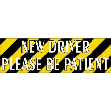 10x3 Striped New Driver Please Be Patient Sticker Car Truck Vehicle Bumper