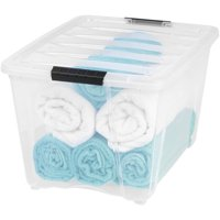 IRIS USA 54 Quart Clear Buckle Up Storage Bin, 1 Pack