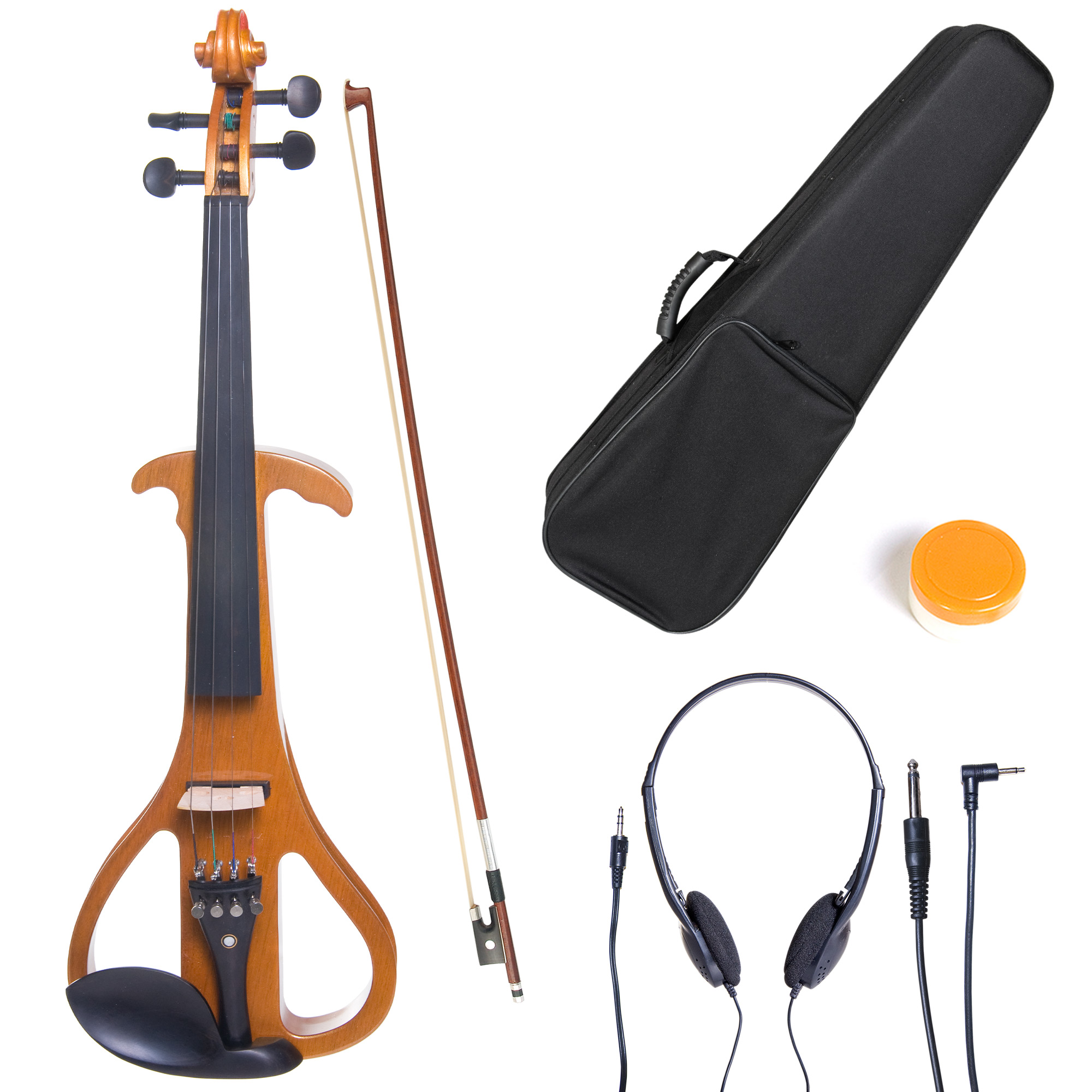 Cecilio 4/4 CEVN-4Y Solidwood Metallic Yellow Maple Electric/Silent Violin with Ebony Fittings-Full Size