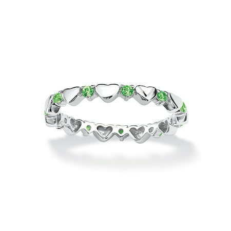 Hearts Stackable (Birthstone Interlocking Stackable Eternity Heart Ring in .925 Sterling Silver - August- Simulated)