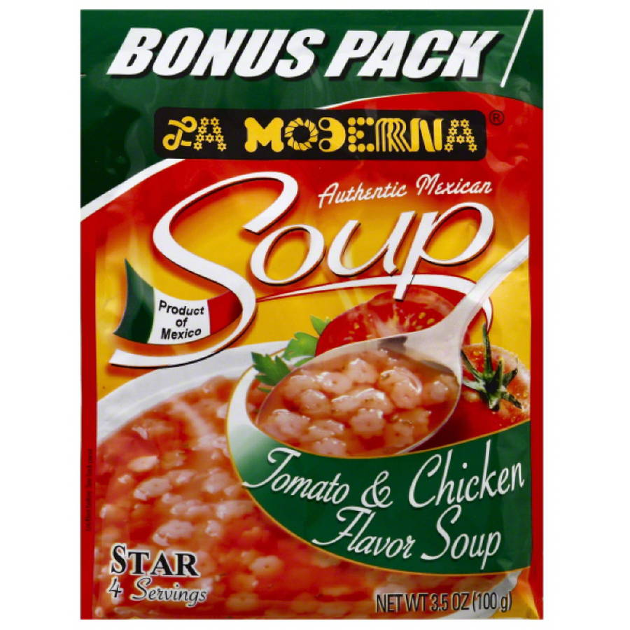 La Moderna Tomato & Chicken Flavor Star Soup Mix, 3.5 oz, (Pack of 12)