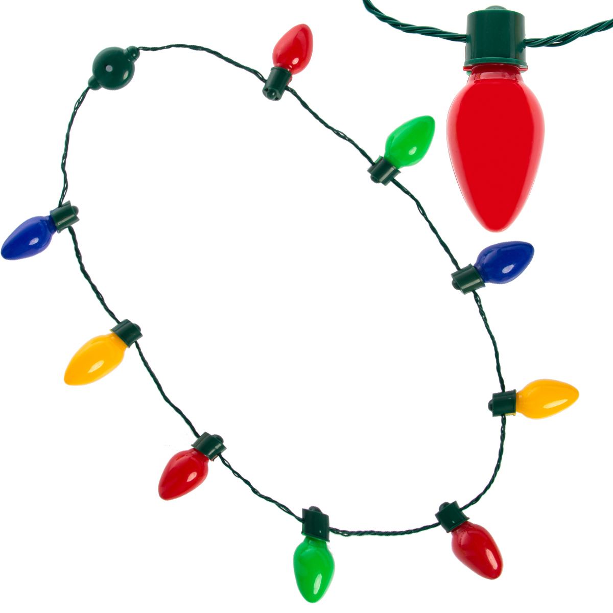 Simply Genius LED Light Up Christmas Bulb Necklace For Kids and Adults, Holiday Party Favor Lighted String Light Gifts Bulk Lot Battery Included