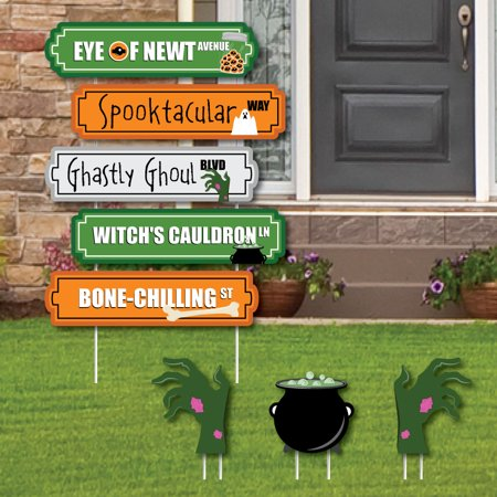 Halloween Street Sign Cutouts - Halloween Yard Signs & Decorations - Set of 8 - Scary Halloween Cutouts