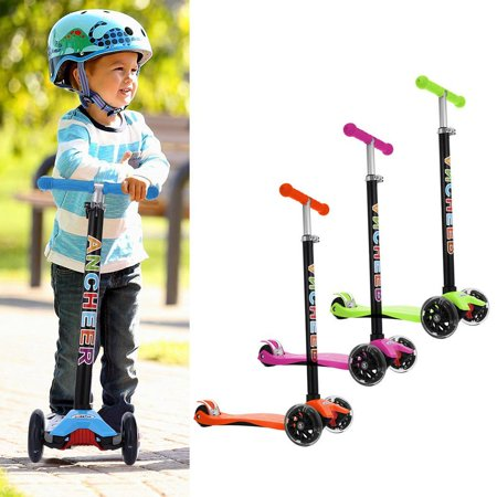 Hascon Folding  Aluminum Alloy Kick Scooter T Style Handle Bar Best Gifts for Children Kids Boys