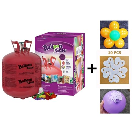 Helium Tank 14.9 cu.ft - 50 Latex Balloons + 10 pcs of Flower Shape Clips - Portable Helium Tanks