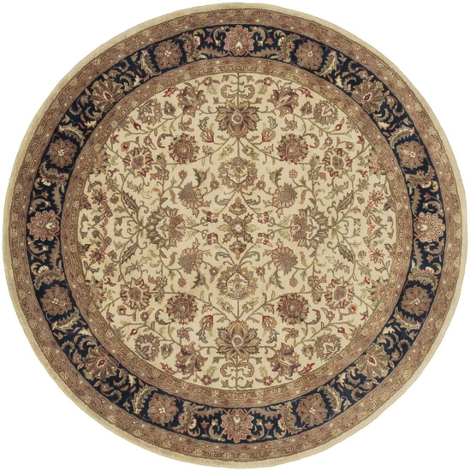 8' Floral Inspired Khaki Brown & Green Oriental-Style Round Wool Area Throw Rug