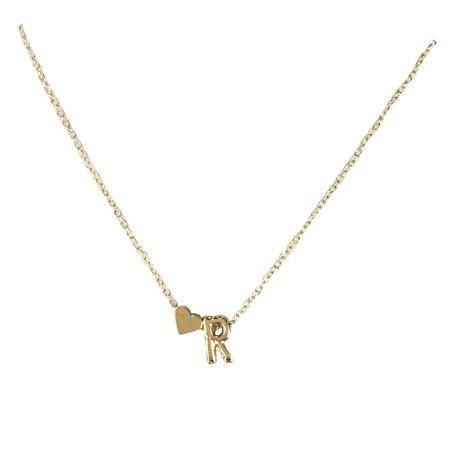 Jewelria Collection (Jewelry Collection Floating Letter R Initial & Heart Mini Pendant Necklace, Gold)