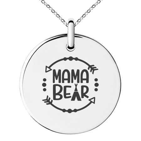 Small Charm Necklace (Stainless Steel Mama Bear Small Medallion Circle Charm Pendant)