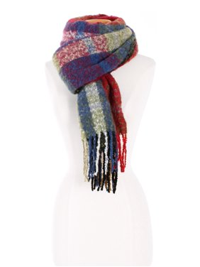 Womens Plaid Pattern Design Multi Color Knitted Fall Winter Oblong Scarf with Fringe