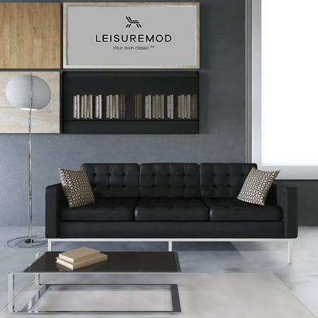 LeisureMod Modern Florence Tufted Black Leather Sofa Modern Black Leather Sofa