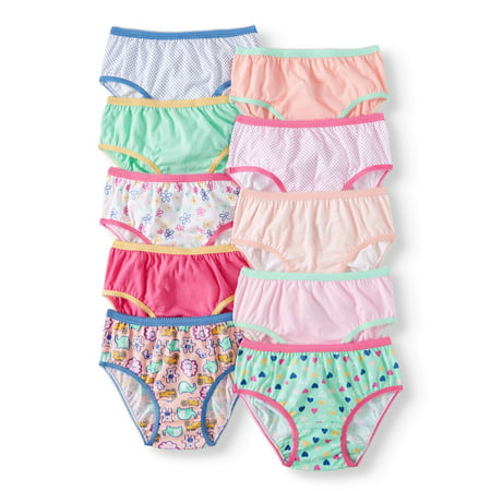 Girls 70s Clothes (Wonder Nation Soft 100% Cotton, Super Comfortable Brief Panties, 10-pack (Toddler)