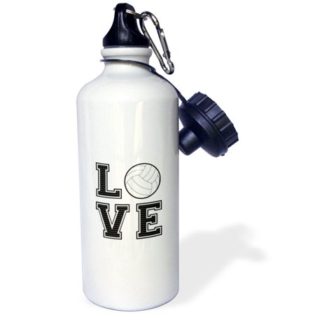 3dRose Print of Love Volleyball, Sports Water Bottle, 21oz