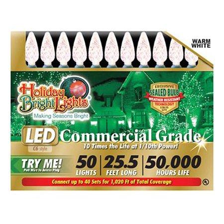 Holiday Bright Lights LEDBX-C650-WW Christmas LED Light Set, C6, Commercial-Grade, Warm White, 50-Ct.