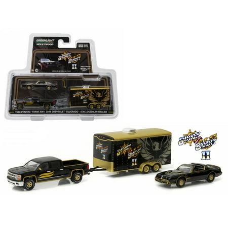 2015 Chevrolet Silverado 1980 Pontiac Trans Am w Enclosed Car Hauler Smokey & The Bandit II 1980 1/64 Diecast Greenlight