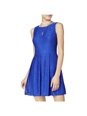 6734eac62995cc Product Image B. Darlin Womens Juniors Lace Fit & Flare Party Dress Blue 3/4