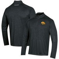 Men's Russell Athletic Heathered Black Iowa Hawkeyes Athletic Fit Quarter-Zip Pullover Jacket