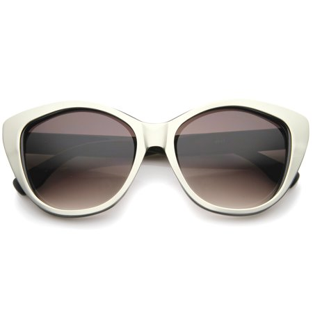 sunglassLA - Women's High Fashion Two-Toned Tinted Lens Oversize Cat Eye Sunglasses - (Amber Tinted Sunglasses)